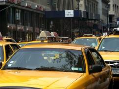 Ein New Yorker Cab steht mit einer Reihe anderer Taxis in der 5th Avenue
