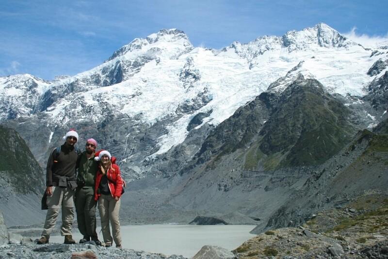 Nico und Co. vor einer Gletscherkulisse