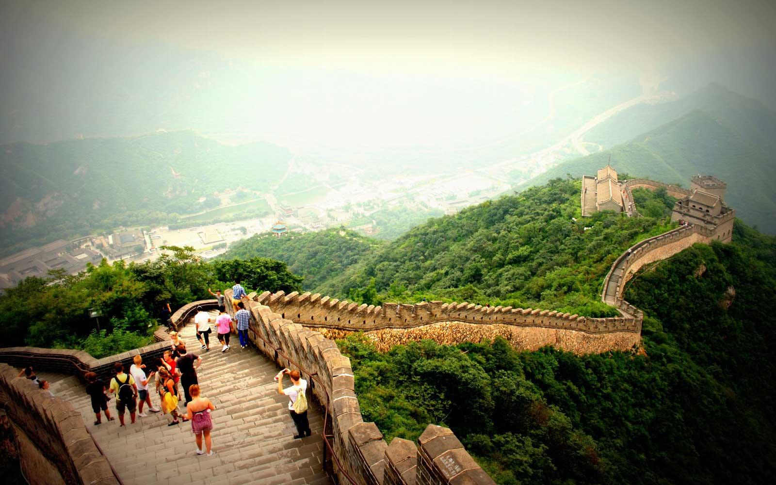 Blick die chinesische Mauer hinunter