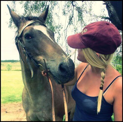 Melina schaut einem Pferd ins Gesicht