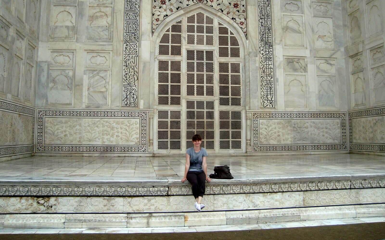 Jenny vorm Taj Mahal