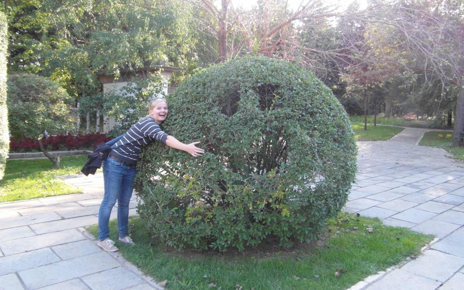 Hanna umarmt einen lachenden Busch