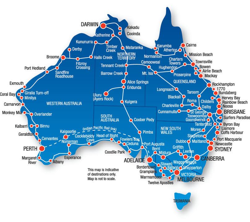 Karte Greyhound Australia
