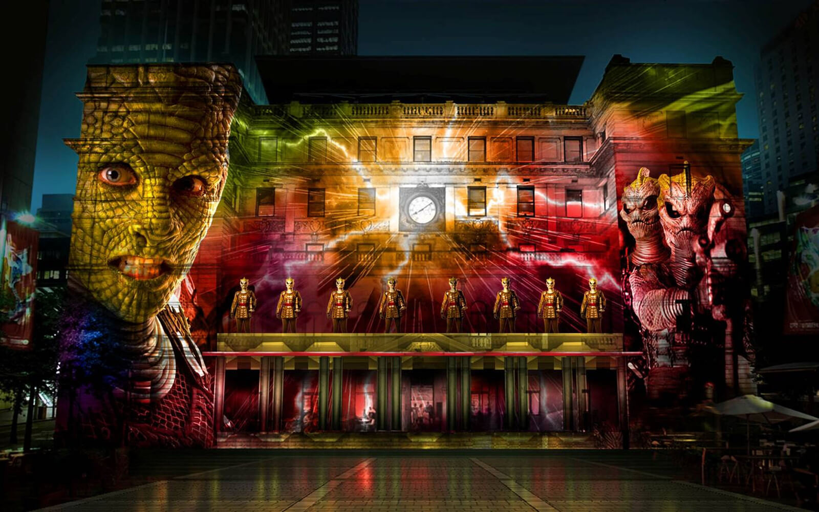 Move your Building beim Custom House während Vivid Sydney