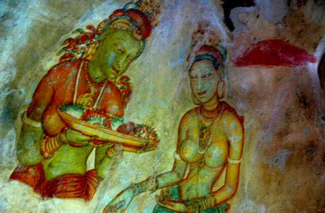 Wandmalereien im Gebirge von Kandy, Sri Lanka