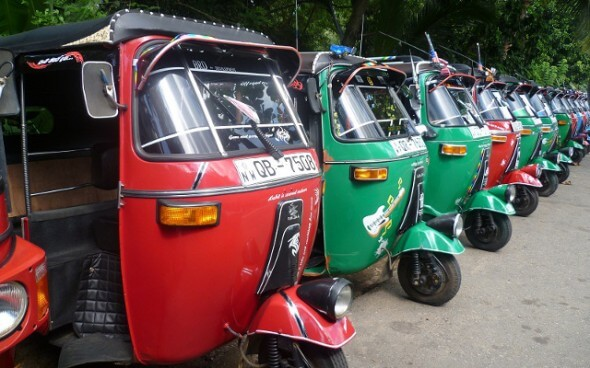Bunte Tuktuks auf Sri Lanka