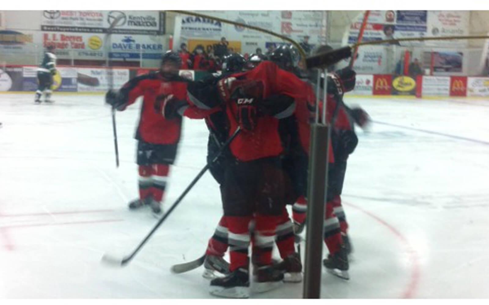 Eishockeyteam auf dem Feld