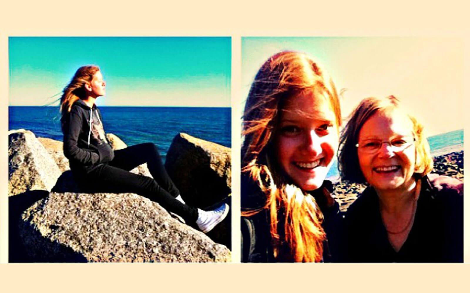 Lena an der Küste mit ihrer Gastmutter