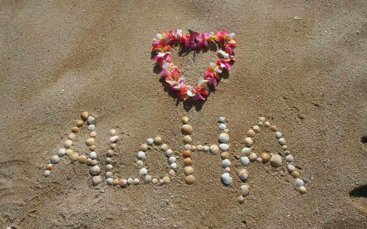 Alohaschriftzug aus Muscheln im Sand