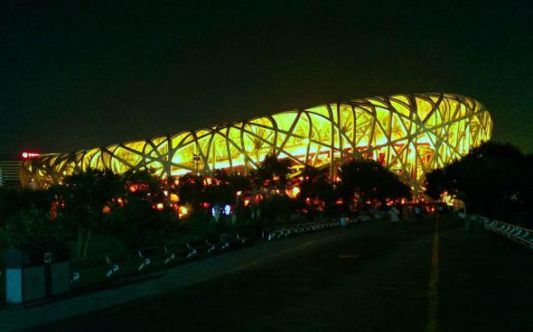 Olympiastadion Peking bei Nacht