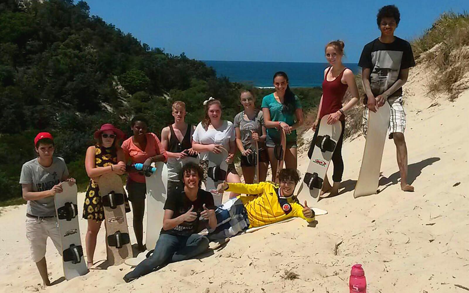 Spaß beim Sandboarding