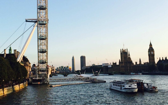 Parlament, London Eye und Themse