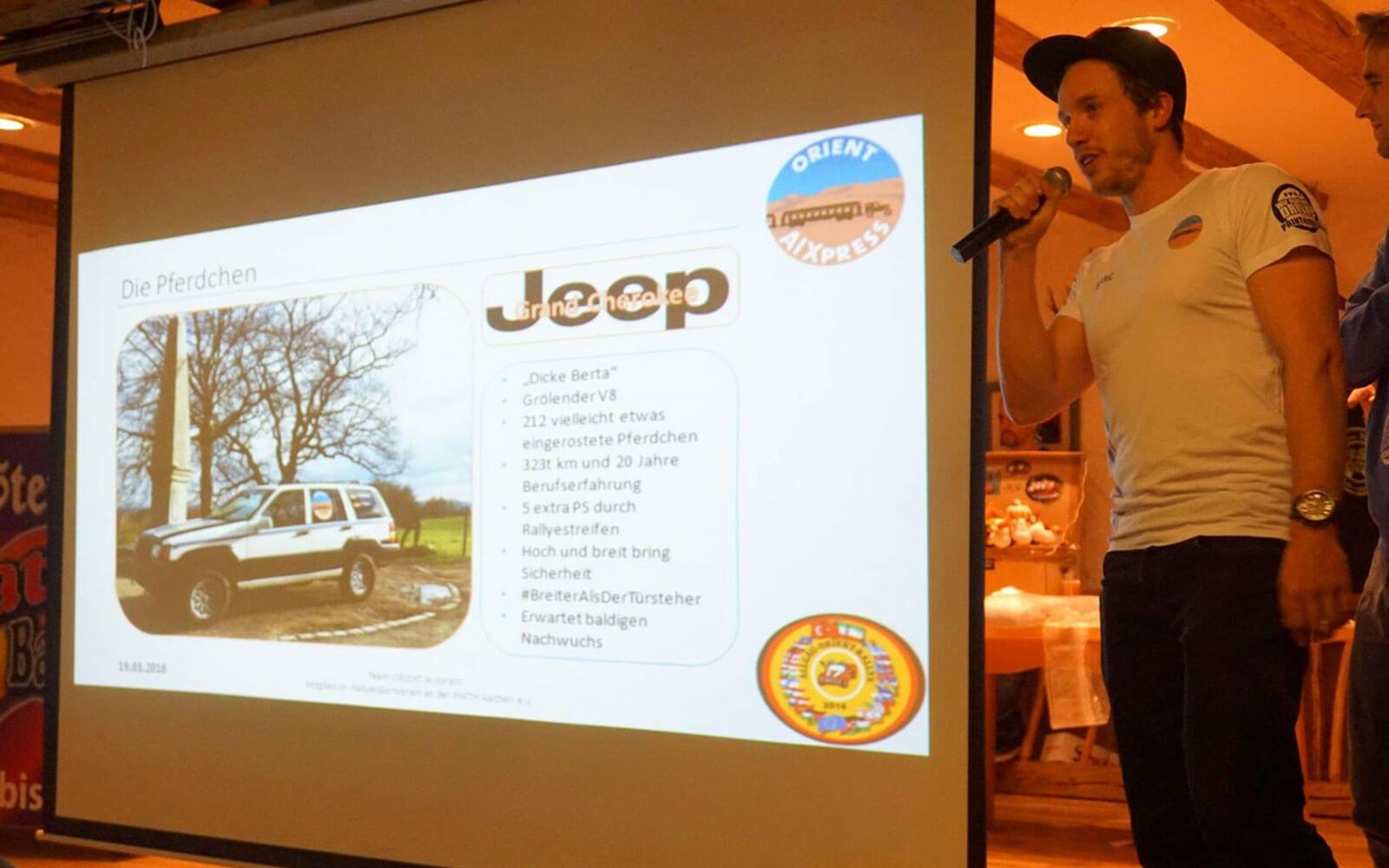 Marc präsentiert das Projekt »Allgäu-Orient-Rallye«