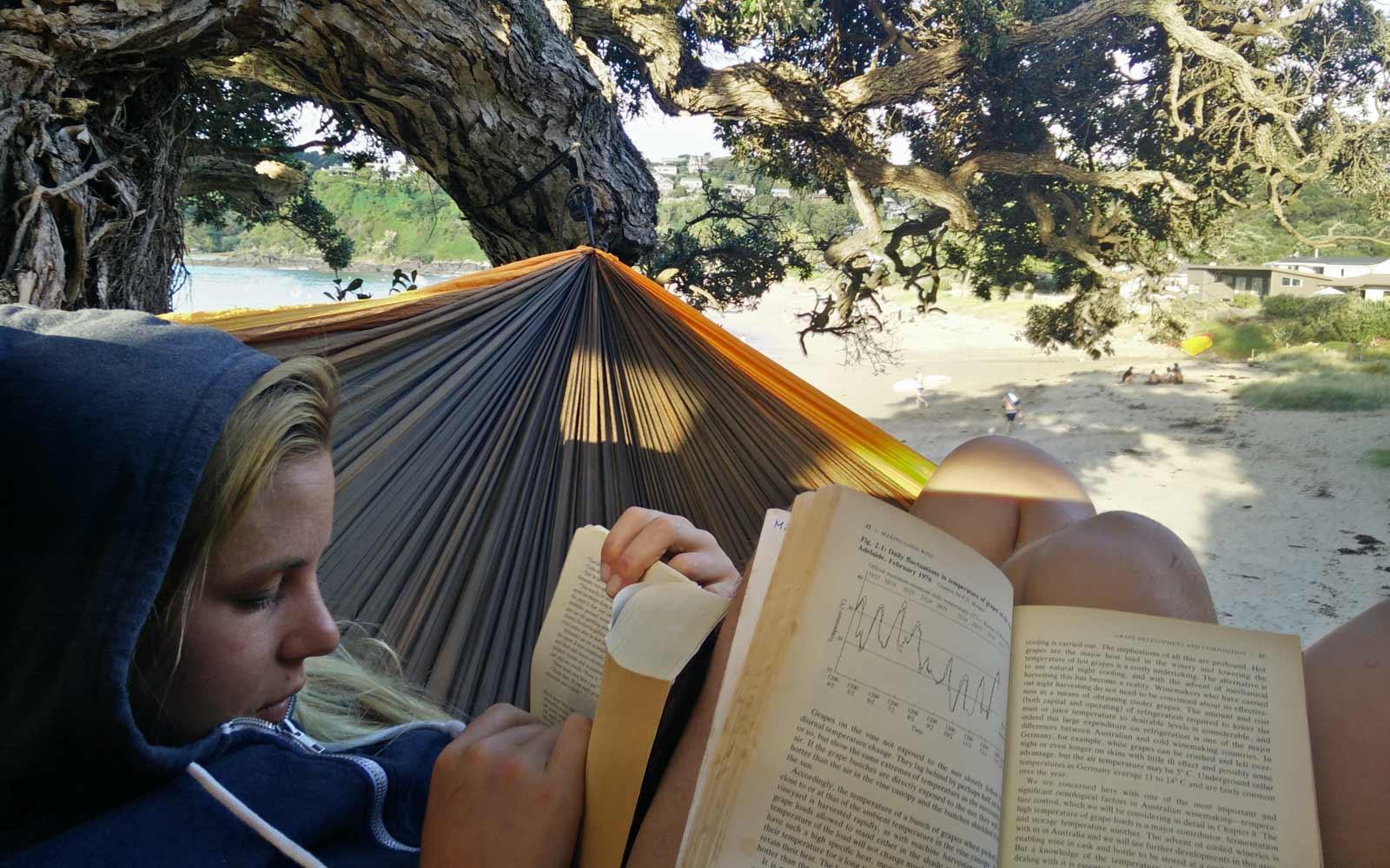 Annie liest ein Buch in einer Hängematte am Strand in Neuseeland