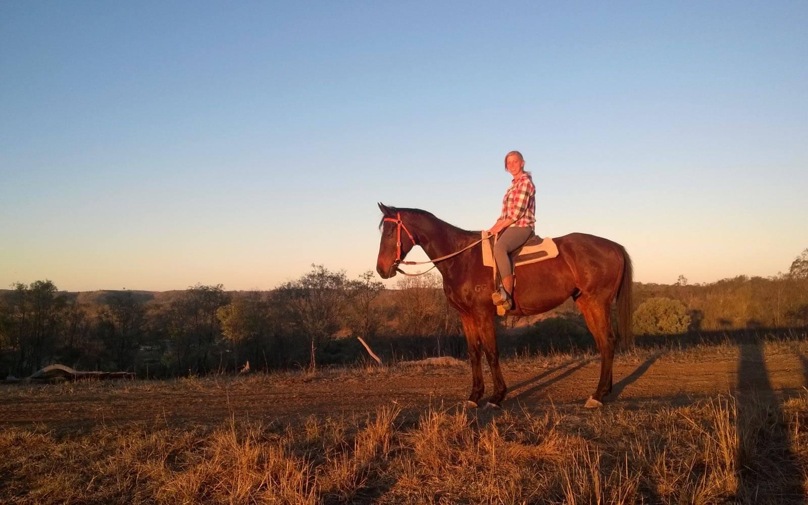 Farmarbeit-Australien-Ausritt-bei-Sonnenuntergang