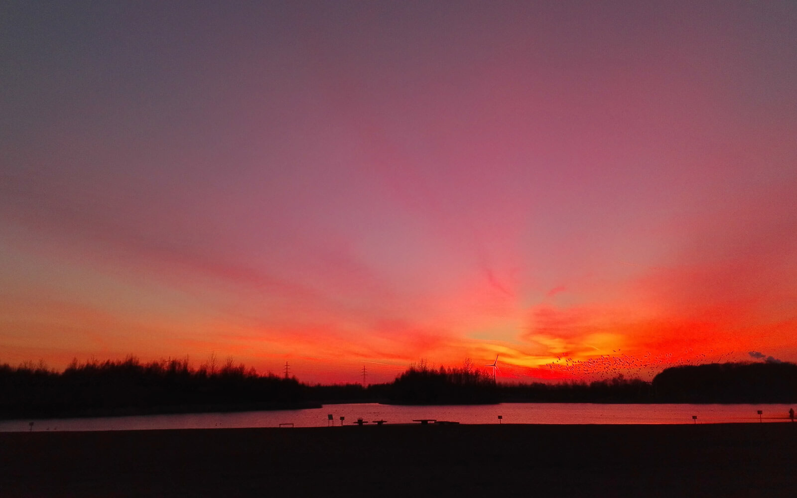 Sonnenuntergang im Seepark Lünen, NRW