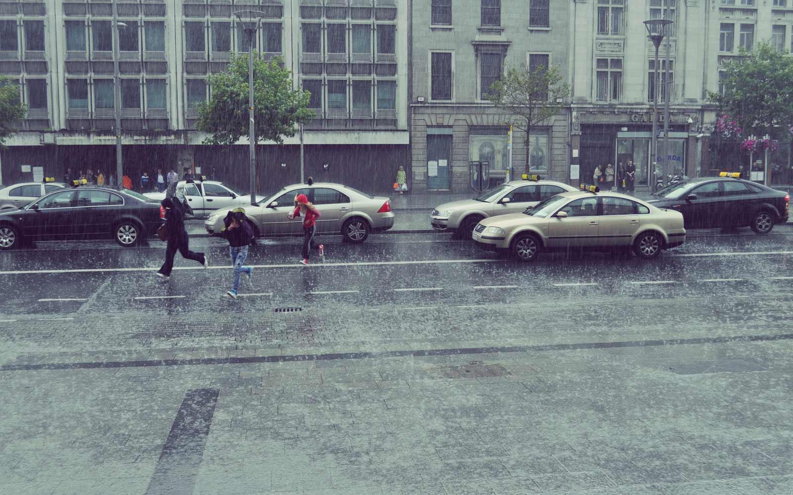 Regenwetter in Dublin