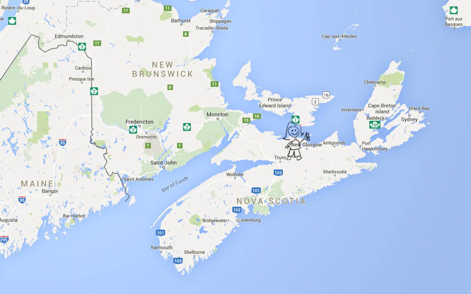 Landkarte Nova Scotia