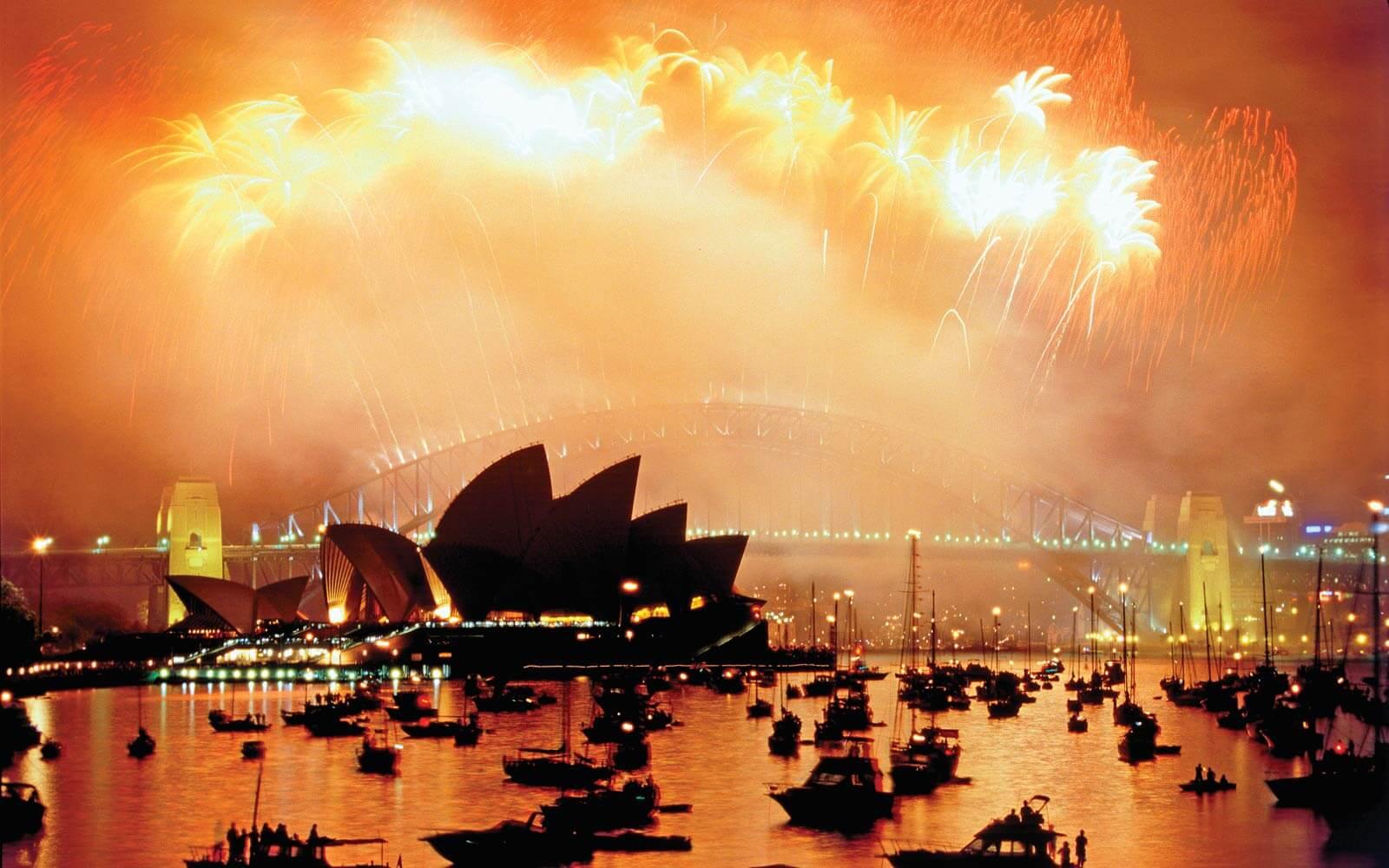 Silvester Feuerwerk Sydney Oper Harbour Bridge
