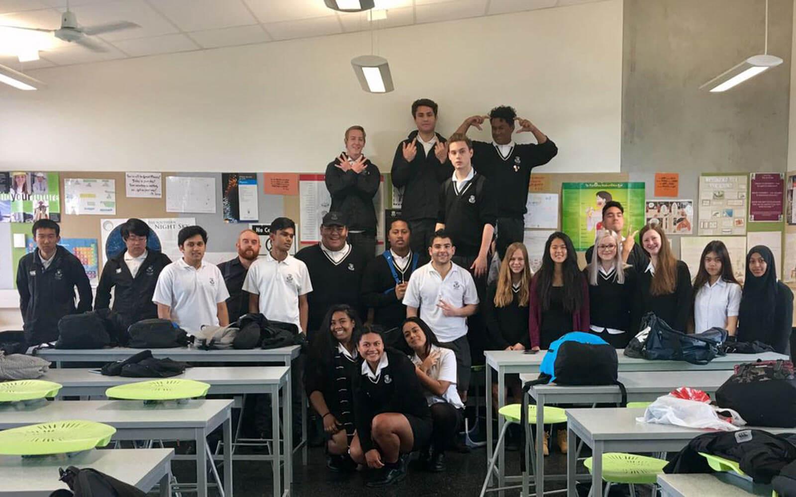 Schulklasse in Neuseeland