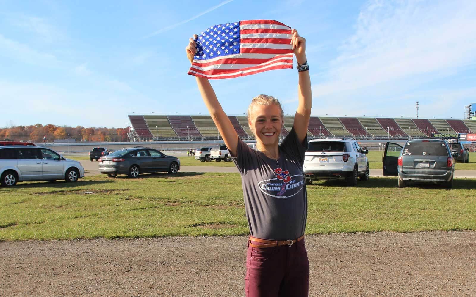 Mara mit US-Flagge