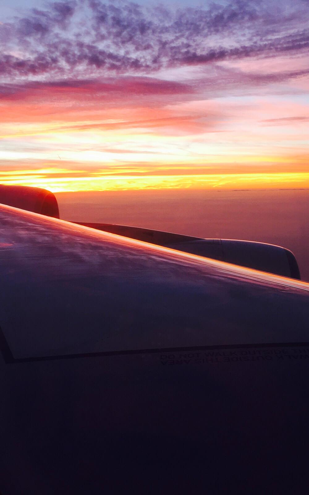 Sonnenuntergang aus dem Flugzeug