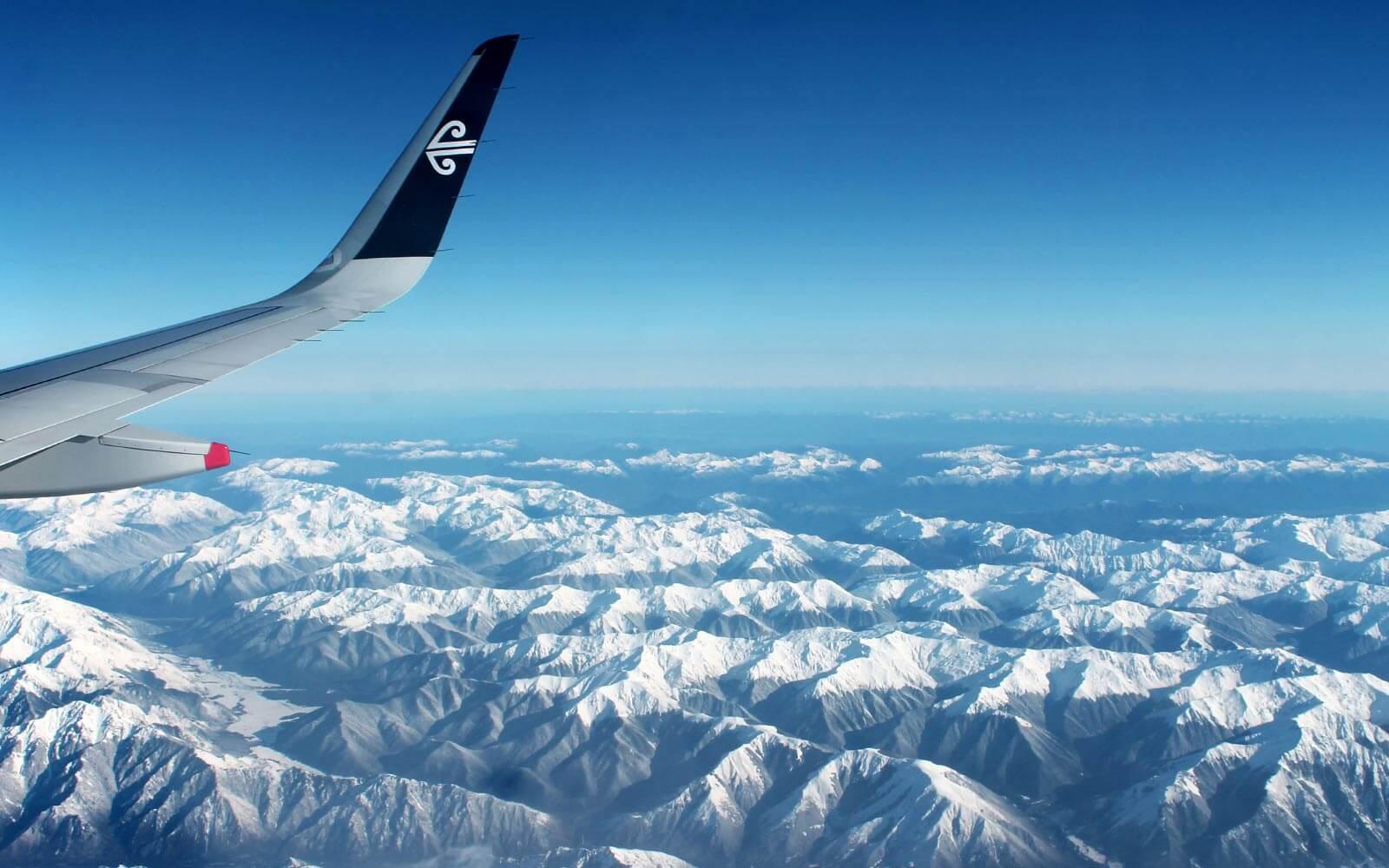 Mit dem Flugzeug über die Southern Alps in Neuseeland