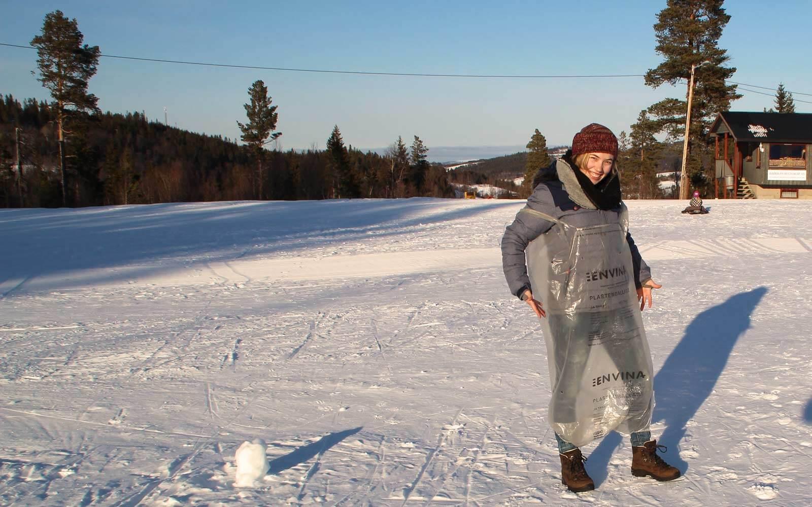 Steffi im Müllsack in Norwegen
