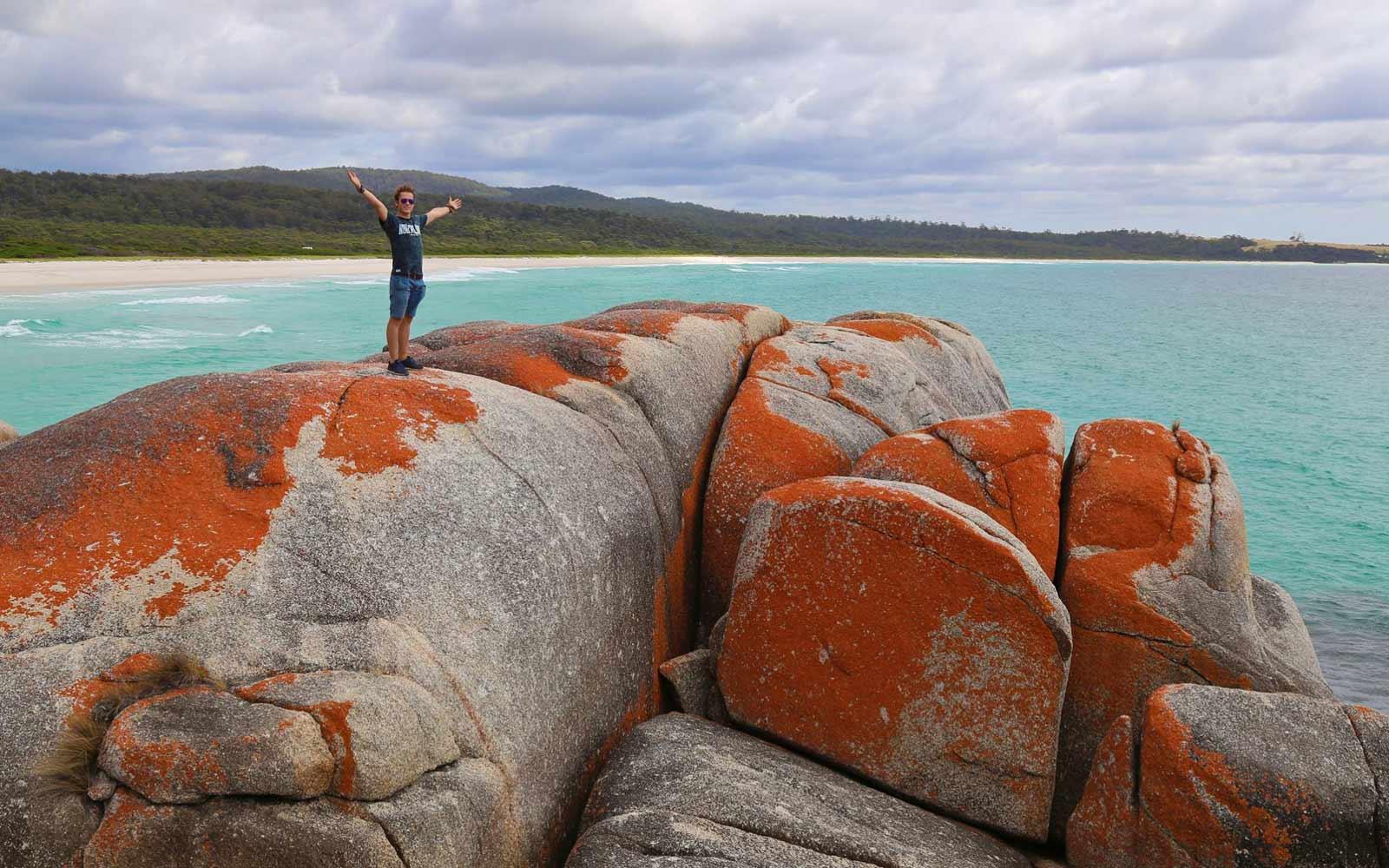 Max auf den roten Felsen der »Bay of Fire«