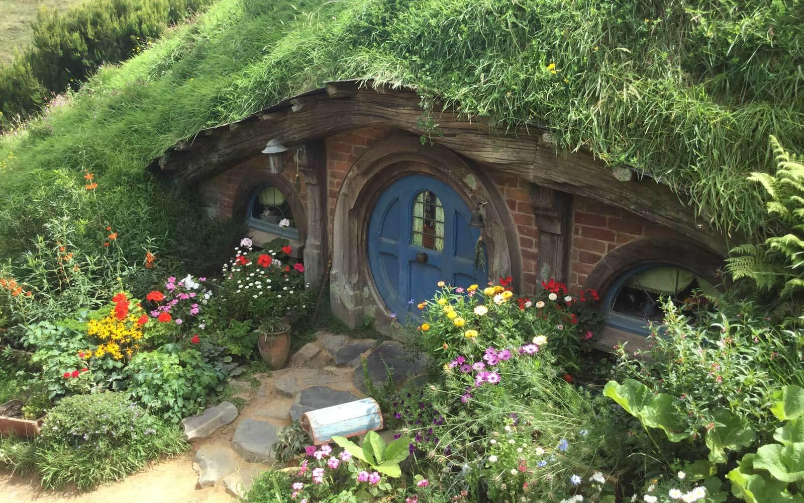Hobbiton Haus im Filmset