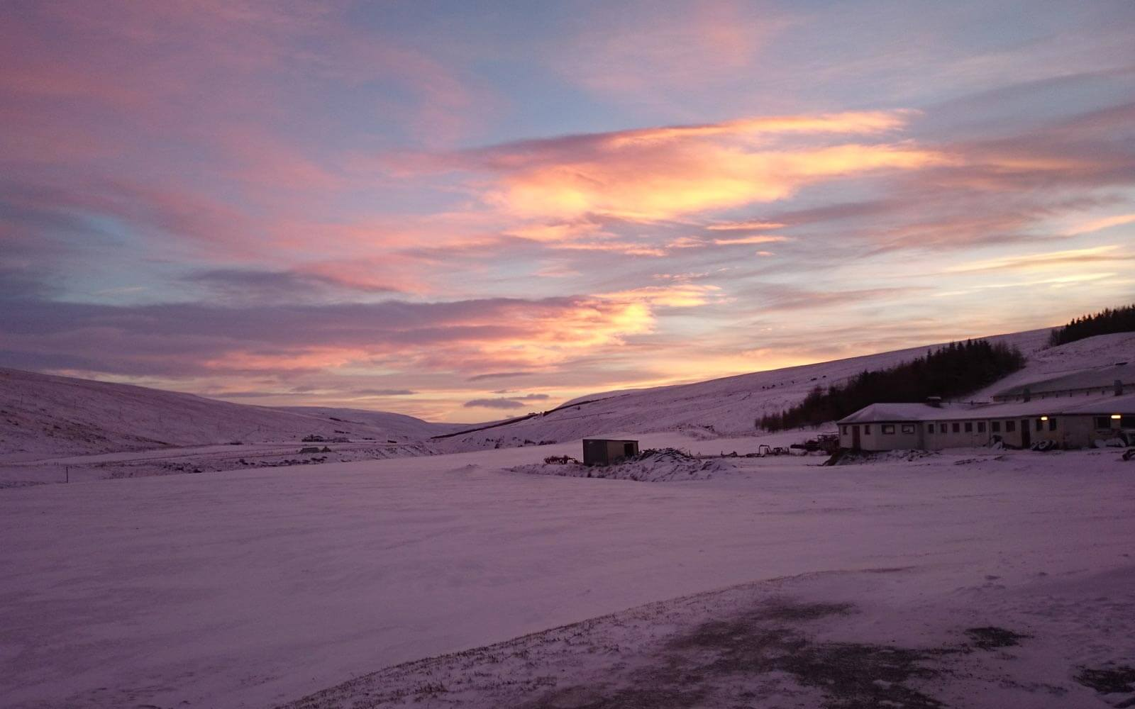 Sonnenuntergnag auf Stinas Farm in Island