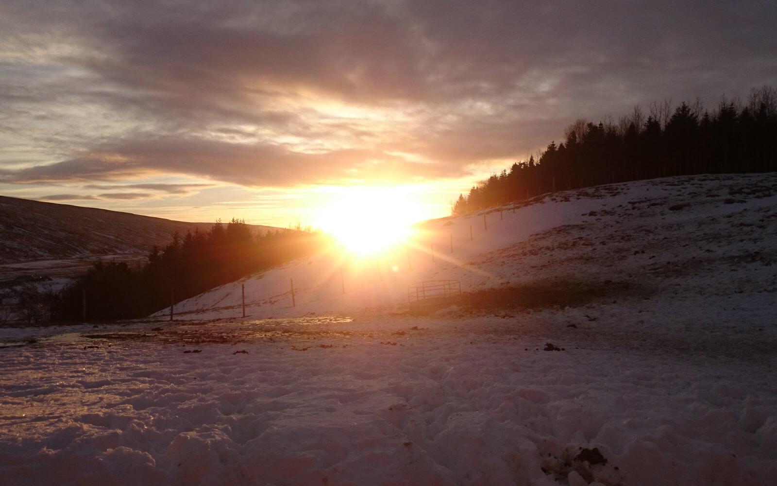 Die Sonne hängt tief über den schneebedeckten Hügeln