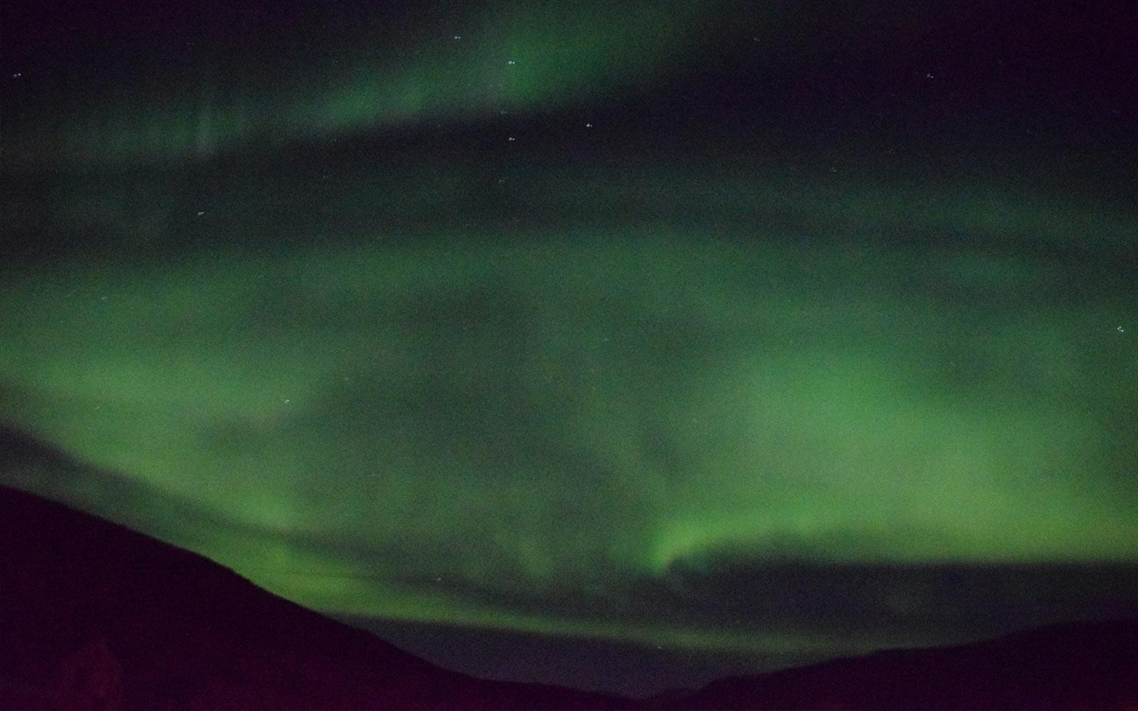 Grüne Polarlichter am Himmel
