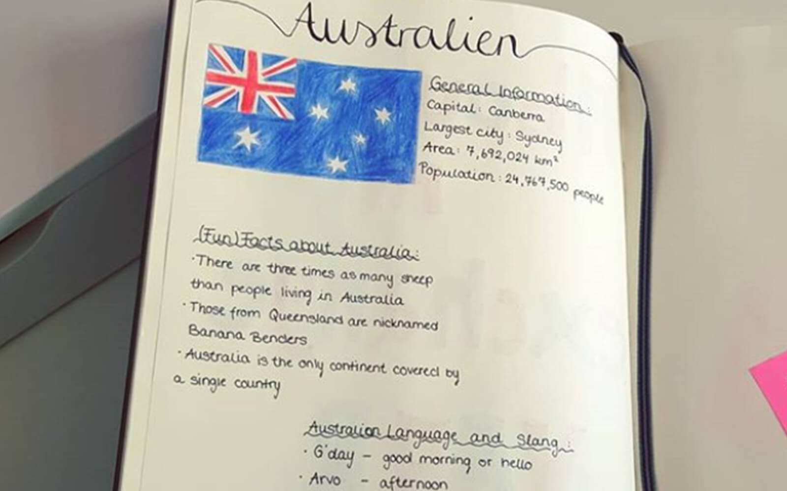 Aufgeschlagenes Abschiedsbuch mit Australien Informationen