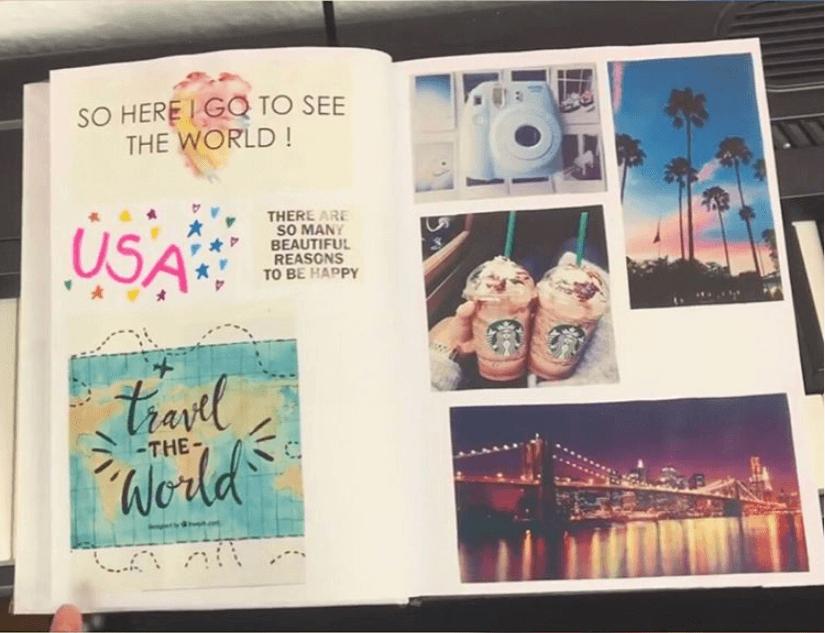 Aufgeschlagenes Abschiedsbuch mit eingeklebten Fotos