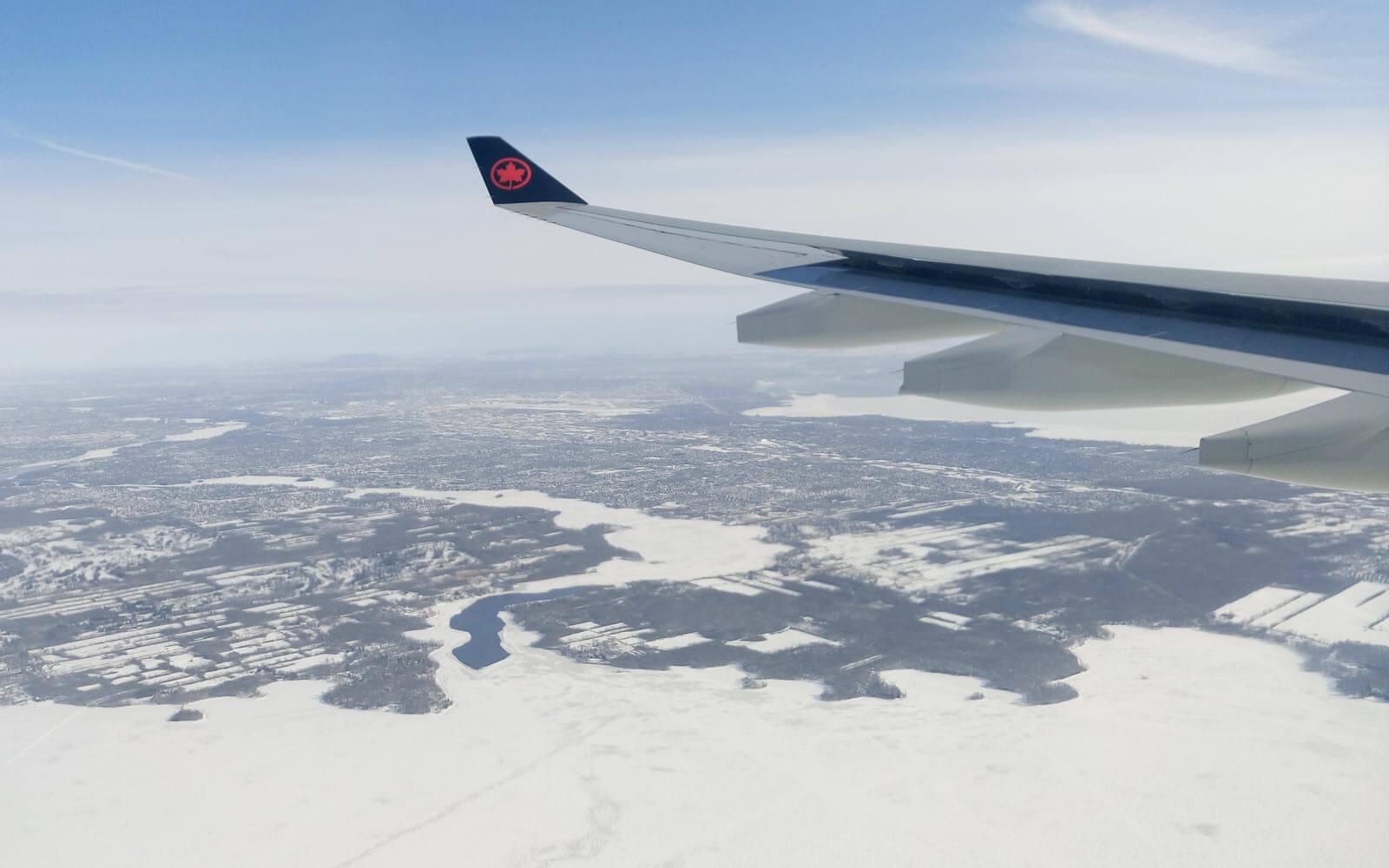 Ankunft in der neuen Heimat: Blick von oben auf Montréal